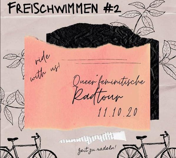 """Grafik mit dem Text """"Freischwimmen #2 - Queerfeministische Radtour - 11.10.20"""""""