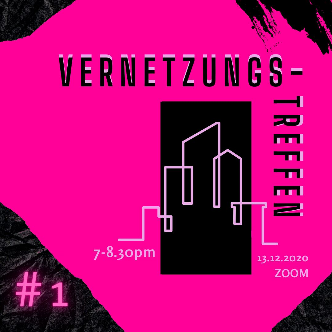 """Grafik in pink und schwarz, die die Umrisse einer Skyline zeigt mit dem Schriftzug """"Vernetzungstreffen"""""""